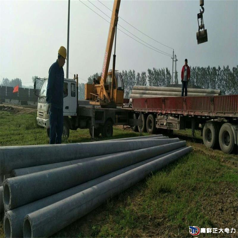 开封52根大十米电线杆一车40吨运输到现场吊车自卸水泥杆